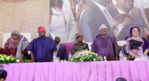 Wife of Lagos State Governor, Mrs. Bolanle Ambode; her husband, Governor Akinwunmi Ambode; his Oyo State counterpart, Governor Abiola Ajimobi and his wife & Chairperson, OYSOWA, Florence during the Opening Ceremony of 5thNational Women Summit with the theme The Ultimate Woman At A Time Like This organised by the Oyo State Officials' Wives Association (OYSOWA) in Ibadan, on Wednesday, December 7, 2016.