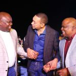 Lagos State Governor, Mr. Akinwunmi Ambode, with Senator Ben Bruce and Senator Adeola Olamilekan Solomon during the unveiling of the Eko Pearl Tower at the Eko Atlantic City, Victoria Island, Lagos, on Friday, November 11, 2016.