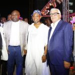 Lagos State Governor, Mr. Akinwunmi Ambode (2nd left); Chairman, Eko Pearl Towers, Mr. Elias Saad; Osun State Governor, Ogbeni Rauf Aregbesola; Founder & Chief Executive Officer, Chagoury Group, Mr. Ronald Chagoury  and  Senator Adeola Olamilekan Solomon during the unveiling of the Eko Pearl Tower at the Eko Atlantic City, Victoria Island, Lagos, on Friday, November 11, 2016.