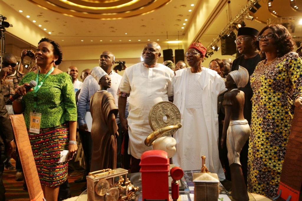 Photo of GOV. AMBODE, FIRST LADY, MINISTER LAI MOHAMMED AT OPENING OF RASHEED GBADAMOSI ART EXHIBITION