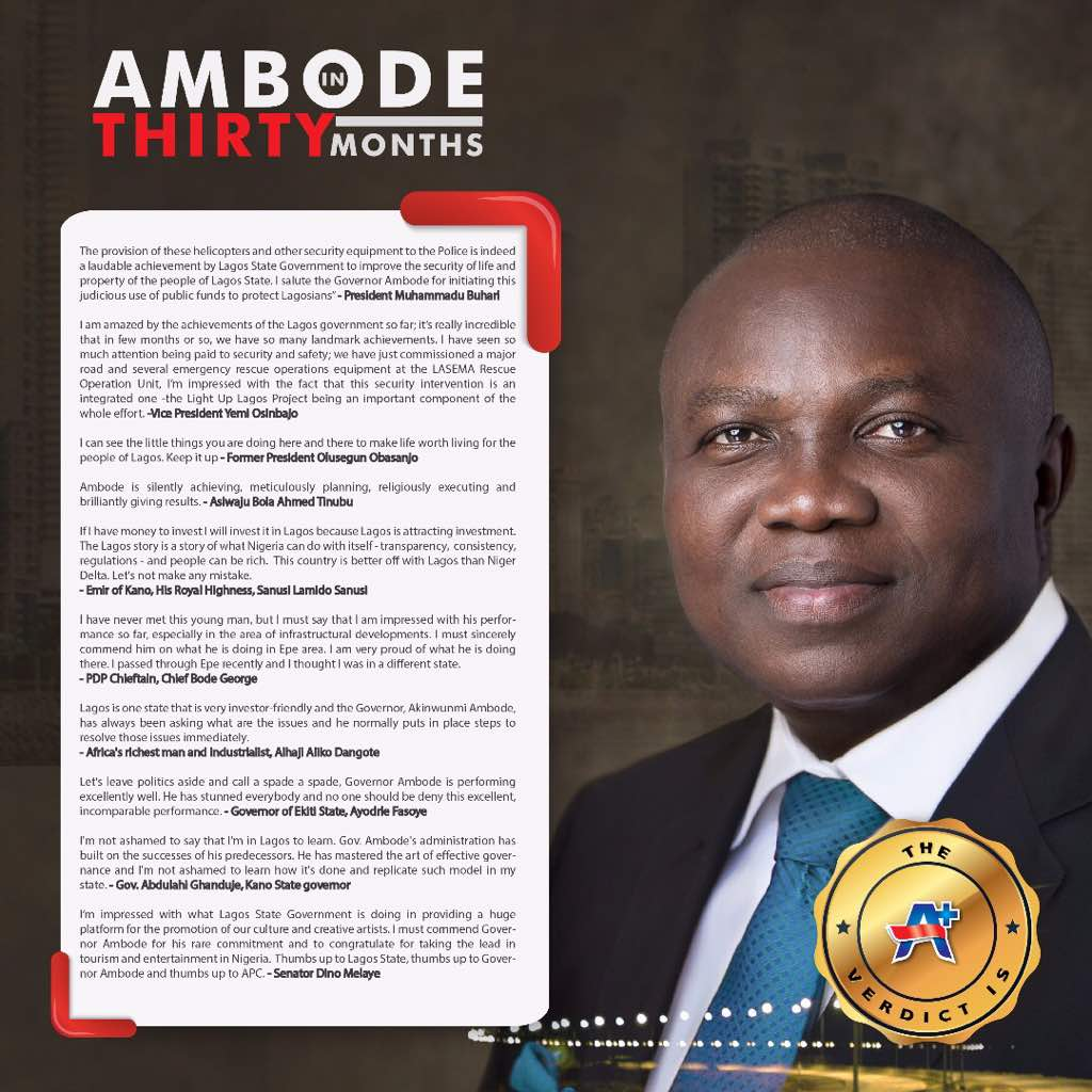 Photo of GOVERNOR AMBODE IN TWO AND A HALF YEARS