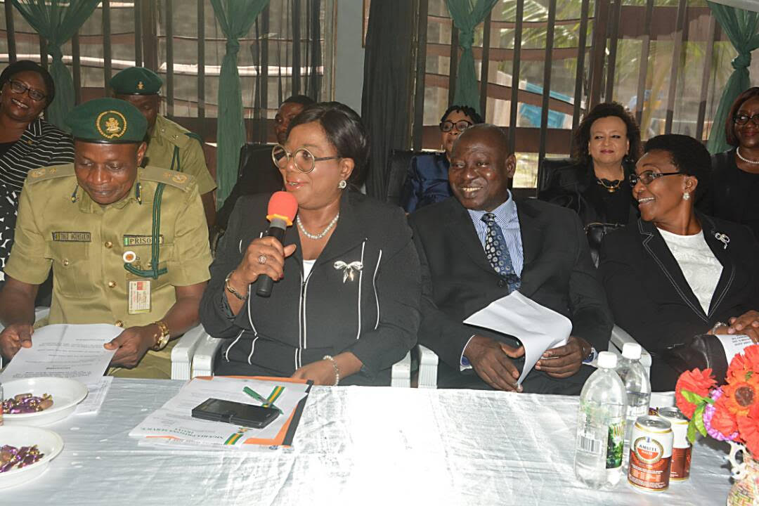 Photo of THE CHIEF JUDGE OF LAGOS STATE, HON. OPEYEMI OKE, DURING A VISIT TO IKOYI PRISON FOR DECONGESTION EXERCISE