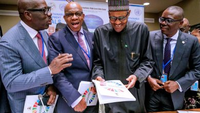 Photo of PRESIDENT BUHARI, GOVS SANWO-OLU, ABIODUN, OBASEKI, OTHERS  AT OFFICIAL LAUNCH OF THE NIGERIA INTEGRATED SGDs MODEL REPORT HELD AT THE UNITED NATIONS BUILDING, NEW YORK ON TUESDAY, SEPTEMBER 24, 2019