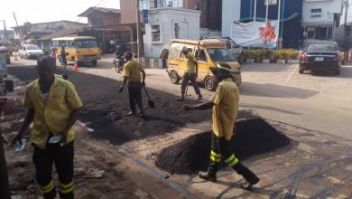 Photo of Sectional patching of potholes and craters done by LSPWC at sections of Apapa road  Lagos Mainland, sections of Ogunnusi road, Ikeja, CMD road, Kosofe.