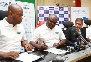 Lagos State Governor, Mr. Akinwunmi Ambode (middle); flanked by Group Managing Director, Access Bank, Mr. Herbert Wigwe (left) and Managing Director, Seven-Up Bottling Company PLC, Mr. Sunil Sawhney (right) during a Press Conference on the Lagos City Marathon 2017 at the Banquet Hall, Lagos House, Ikeja, on Sunday, November 20, 2016.