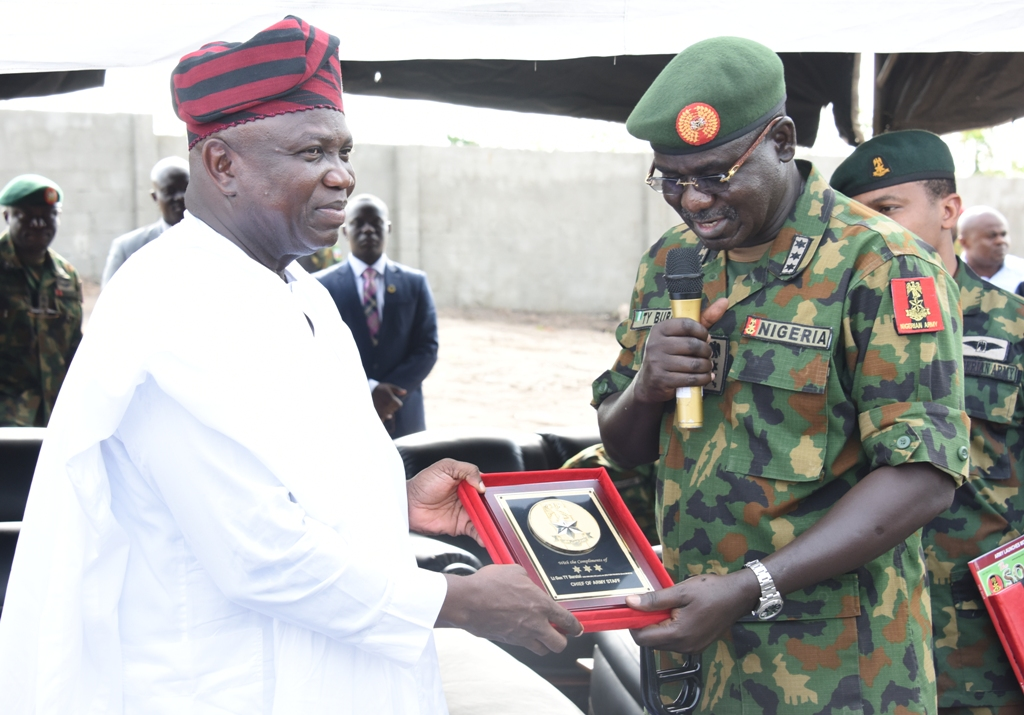 Photo of GOV. AMBODE, BURATAI AT COMMISSIONING OF NIGERIAN ARMY FORWARD OPERATING BASE, EPE
