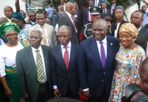 Vice President, Prof. Yemi Osinbajo (middle); Lagos State Governor, Mr. Akinwunmi Ambode (2nd right); his wife, Bolanle (right); General Superintendent, Deeper Christian Life Ministry, Pastor William Kumuyi (2nd left) and his wife, Esther (left) during the 58th Independence Anniversary Interdenominational Service at the Deeper Life Bible Church Headquarters, Gbagada, Lagos, on Sunday, October 7, 2018.