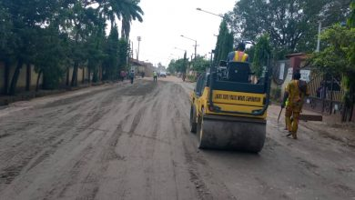 Photo of Base regulation with Crushed Stones done by LSPWC at Sections of Ijaiye road, Agege. Work is still ongoing