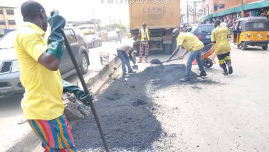 Photo of Patching of potholes by LSPWC done at  sections of Sunmola street Mende-Maryland, CMD road by Ikosi junction, Oba Ogunnusi road, Ikeja (Excellence Hotel junction to Akilo Junction), Jobi Fele way, inward NECA House and Ashabi Cole street, Alausa