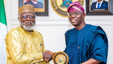 Photo of GOV. SANWO-OLU RECEIVES CHAIRMAN/CHIEF EXECUTIVE OF NDLEA, COLONEL MUHAMMAD MUSTAPHA ABDALLAH (RTD) AT LAGOS HOUSE, IKEJA, ON THURSDAY, JANUARY 30, 2020