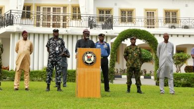 Photo of GOV. SANWO-OLU BRIEFS MEDIA AFTER THE STATE SECURITY COUNCIL MEETING AT LAGOS HOUSE, MARINA ON SATURDAY, APRIL 4, 2020
