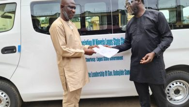 Photo of Official Presentation of a Nissan NV350 16 Sitter Bus donated to the Lagos State Sports Writers Association (Lagos State Chapter) by the Lagos State Government.