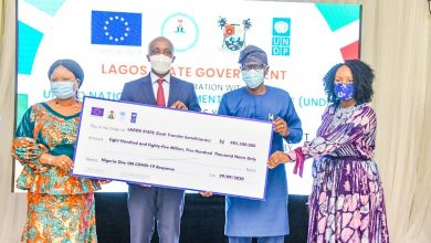 "Photo of GOV SANWO-OLU AT OFFICIAL LAUNCH OF THE UNITED NATIONS ""ONE BASKET FUND"" UNCONDITIONAL CASH TRANSFER PROJECT FOR VULNERABLE COMMUNITIES IN LAGOS STATE AT VILLA DOME EVENT, IKOYI, ON TUESDAY SEPTEMBER 29, 2020"