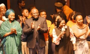 Lagos State Governor, Mr. Akinwunmi Ambode (2nd left), with wife of Kebbi State Governor, Dr. Zainab Bagudu (left); veteran actress, Joke Silva (2nd right) and Writer of the play, Toyin Otudeko (right) during the LUFODO Productions Show entitled Heartbeat The Musical...A New Beginning at the Muson Centre, Onikan, Lagos, on Sunday, December 11, 2016.