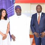 Lagos State Governor, Mr. Akinwunmi Ambode (middle), flanked by Special Adviser on Office of Overseas Affairs & Investment (Lagos Global), Prof. Ademola Abass (right) and Presenter, Temitope Oluseyi Oshin (left) during the Launching of the maiden edition of an Educative TV series: Lagos Global on TV at the Banquet Hall, Lagos House, Ikeja, on Thursday, November 3, 2016.