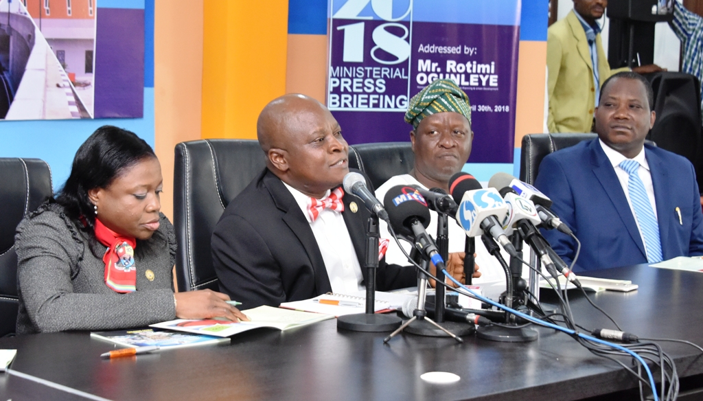 Photo of LAGOS STATE COMMISSIONER FOR PHYSICAL PLANNING AND URBAN DEVELOPMENT, MR ROTIMI OGUNLEYE BRIEFS THE MEDIA AT THE ON-GOING Y2018 MINISTERIAL BRIEFING