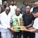 GOV AMBODE RECEIVES FORMER AFRICAN FOOTBALL STARS AHEAD OF A TESTIMONIAL MATCH IN HIS HONOUR AT LAGOS HOUSE, ALAUSA, IKEJA, ON FRIDAY, MAY 17, 2019.