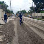 Palliative work with crushed stones on Coker road, Ilupeju-Mushin