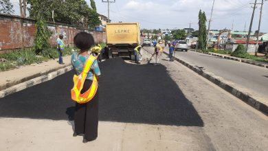 Photo of Before, During and After photos of maintenance work done by LSPWC at Igando road by Igando Community High School.