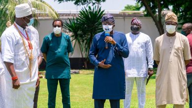 Photo of LAGOS GOVT RECEIVES MOTORIZED MODULAR FUMIGATORS DONATED BY THE OONI OF IFE AT LAGOS HOUSE, MARINA ON TUESDAY, APRIL 28, 2020