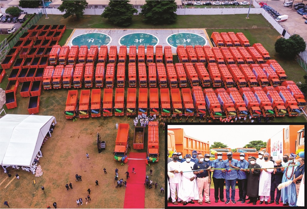 CLEANER LAGOS: SANWO-OLU LAUNCHES 102 LOCALLY ASSEMBLED COMPACTOR TRUCKS, 100 DINO BINS TO BOOST WASTE COLLECTION