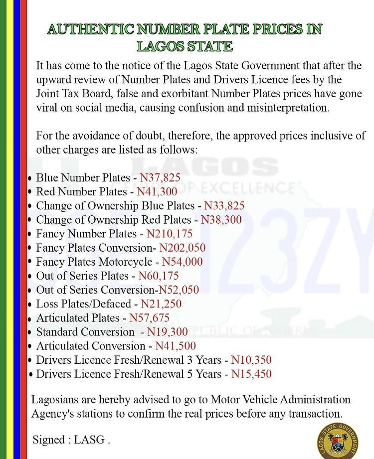 The Official Number Plate Prices In Lagos State